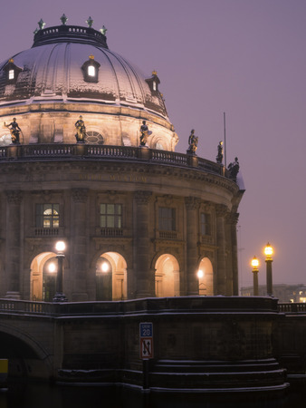bode: fragment of famous Bode Museum in Berlin with scenic night illumination Editorial
