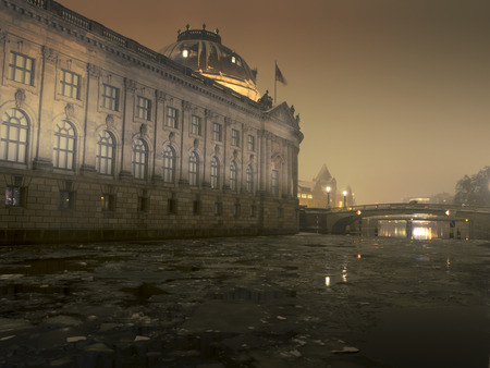 bode: Berlin winter night scenery with famous Bode museum and cracked ice blocks in Spree river Editorial