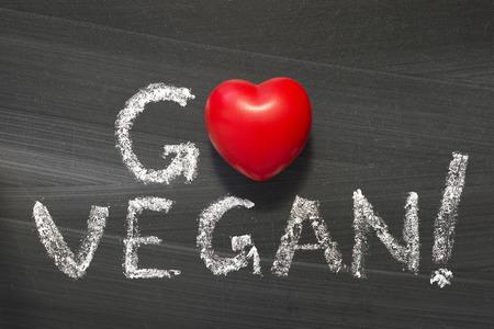 Go Vegan  phrase handwritten on the school blackboard