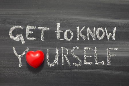 get to know yourself phrase handwritten on school blackboard