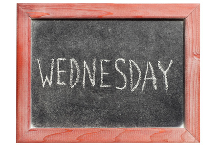 Wednesday word handwritten on isolated vintage blackboard  photo