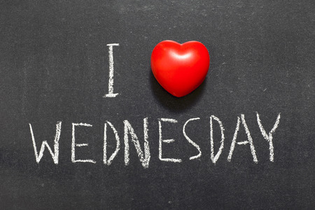 I love Wednesday phrase handwritten black chalkboard photo