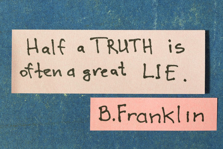 famous B.Franklin quote interpretation with sticker notes on vintage carton board Stok Fotoğraf
