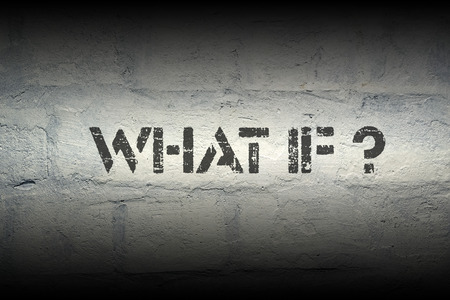 what if: what if question stencil print on the grunge white brick wall