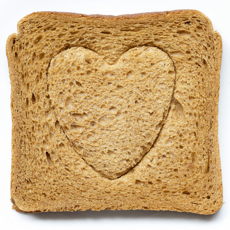 embossing: grilled toast with heart symbol embossing  Stock Photo