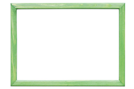 wooden frame: green wooden frame on the white background