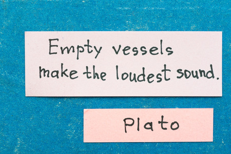 loudest: famous ancient Greek philosopher Plato quote interpretation with sticky notes on vintage carton board about babbling