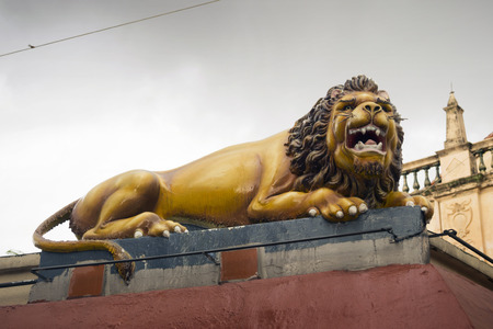 mariamman: scenic lion sculpture on the wall of Sri Mariamman Temple located in Chinatown of Singapore Stock Photo