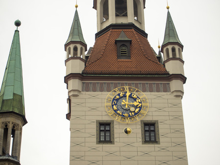 rathaus: watch tower fragment of famous Alltes Rathaus building on Munich, Germany