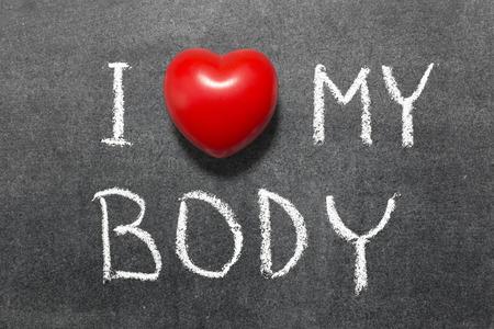 phrase: I love my body phrase handwritten on school blackboard