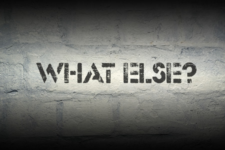 else: what else stencil print on the grunge white brick wall
