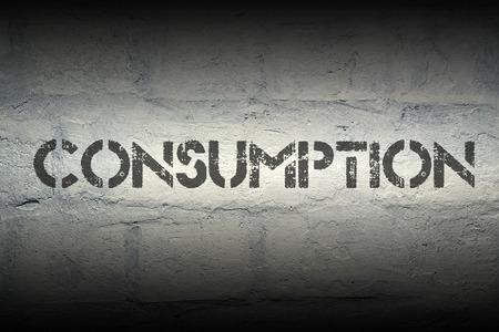 shopaholism: consumption stencil print on the grunge white brick wall Stock Photo