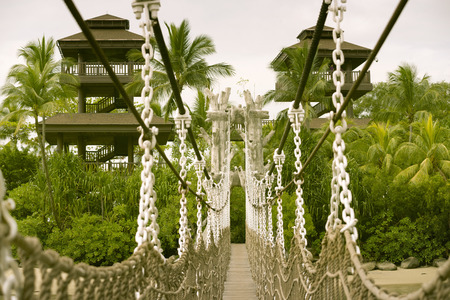 ropeway: hanged rope-way leading to the observation towers at the famous Sentosa island in Singapore