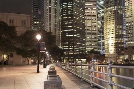 night illumination on river embankment in Singapore downtown Stock Photo - 34337668