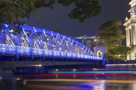 scenic night illumination of famous Anderson bridge in Singapore downtown Editorial