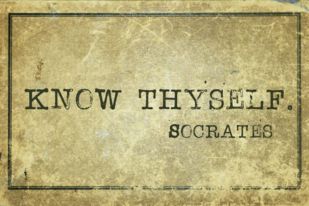 yourself: know thyself - ancient Greek philosopher Socrates quote printed on grunge vintage cardboard