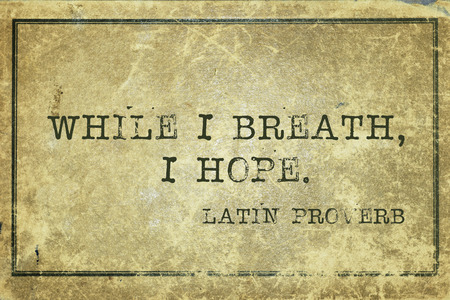 yellowish green: while I breath, I hope - ancient Latin proverb printed on grunge vintage cardboard