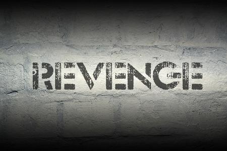 revenge: impresi�n de la plantilla vengarse de la pared de ladrillo blanco de grunge Foto de archivo