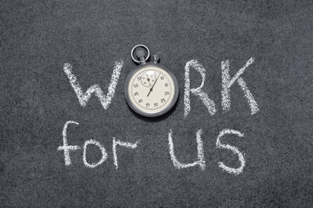precise: work for us phrase handwritten on chalkboard with vintage precise stopwatch used instead of O Stock Photo