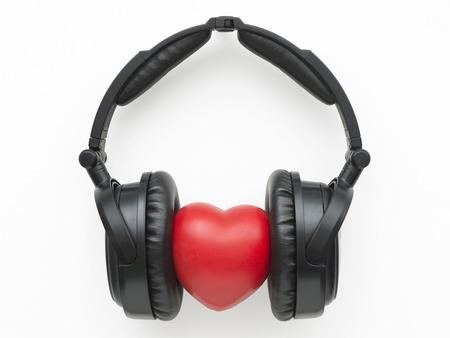 Schwarze Kopfhörer Mit Rot Getönten In Blau Herz Lizenzfreie Fotos ...
