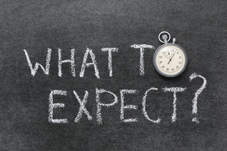 to expect: what to expect question handwritten on chalkboard with vintage precise stopwatch used instead of O Stock Photo