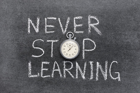 insist: never stop learning phrase handwritten on chalkboard with vintage precise stopwatch used instead of O Stock Photo