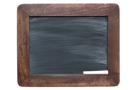 smudges: wooden framed vintage school blackboard with sponge smudges pattern and piece of chalk Stock Photo
