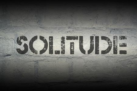solter�a: impresi�n de la plantilla la soledad en la pared de ladrillo blanco de grunge