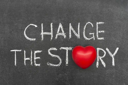 redirect: change the story phrase handwritten on chalkboard with heart symbol instead of O Stock Photo
