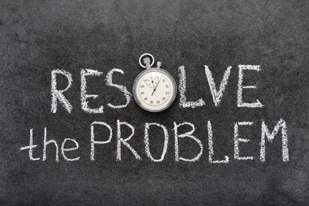 resolve: resolve the problem phrase handwritten on chalkboard with vintage precise stopwatch used instead of O