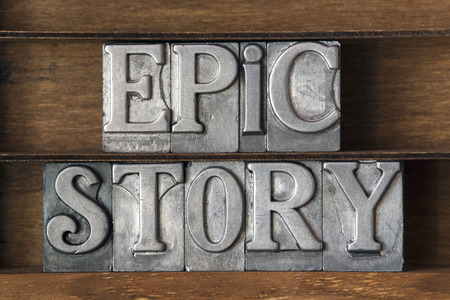 phrase novel: epic story phrase made from metallic letterpress type on wooden tray