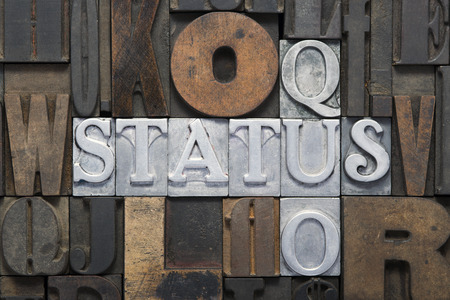 letterpress words: status quo cross words made from metallic letterpress blocks in mixed wooden letters Stock Photo