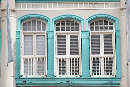 windows frame: traditional wooden frame windows in Singapore Chinatown Stock Photo