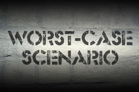 scenario: worst-case scenario stencil print on the grunge white brick wall