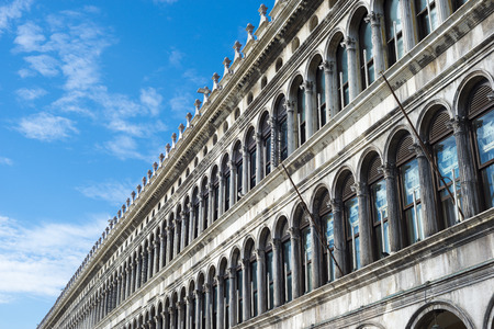 st  mark's square: blue sky over the former offices of the Procurators at famous St. Marks Square in Venice Stock Photo
