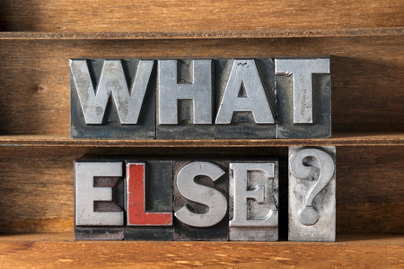 else: what else question made from metallic letterpress type on wooden tray
