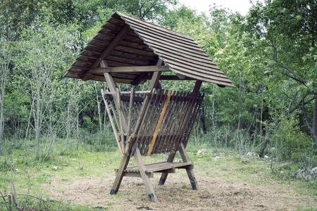 marge: wooden feeder for wild animals in summer forest