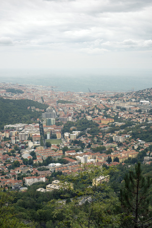 trieste: scenic view to Trieste city from mountain in Italy Stock Photo