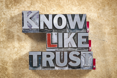 letterpress words: know,like, trust words made from metallic letterpress type on grunge cardboard background