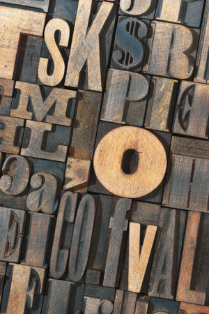 letterpress type: detailed letterpress wooden type letters background Stock Photo