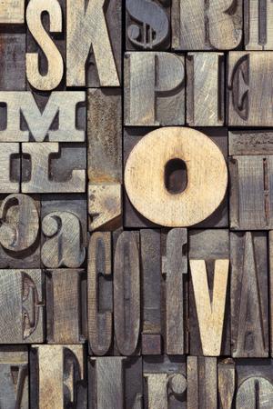 letterpress letters: detailed letterpress wooden type letters background Stock Photo