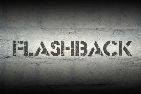 flashback stencil print on the grunge white brick wall