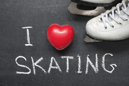 I love skating phrase handwritten on blackboard with red heart and white skates