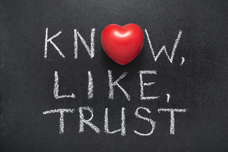 know,like,trust phrase handwritten on blackboard with heart symbol instead of O