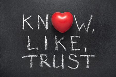 weiß, wie, Vertrauensphrase handgeschrieben auf Tafel mit Herzsymbol anstelle von O