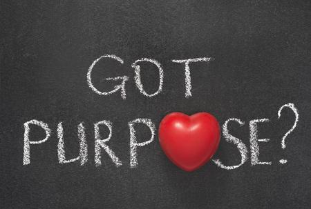 necessity: got purpose question handwritten on blackboard with heart symbol instead of O Stock Photo