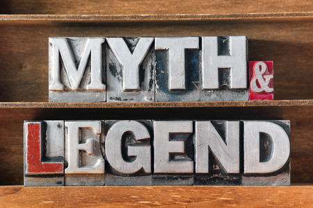 letterpress words: myth and legend words made from metallic letterpress type on wooden tray
