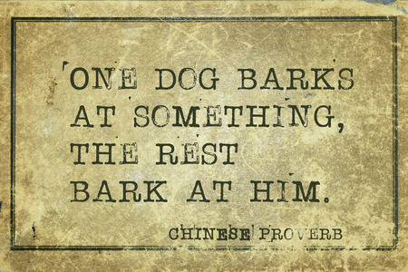 proverb: One dog barks at something - ancient Chinese proverb printed on grunge vintage cardboard Stock Photo