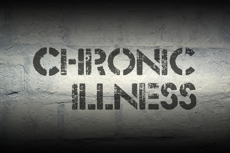stencil: chronic illness stencil print on the grunge white brick wall Stock Photo