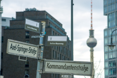 street signs: street signs with Berlin wall trail MAUERWEG designation and TV tower on background